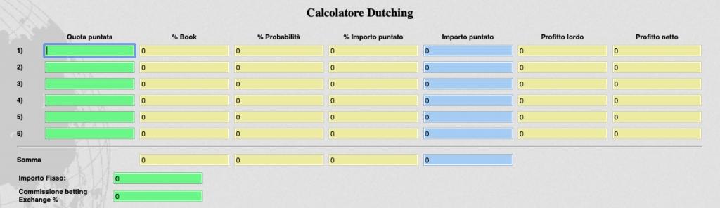 Dutching calcolatore